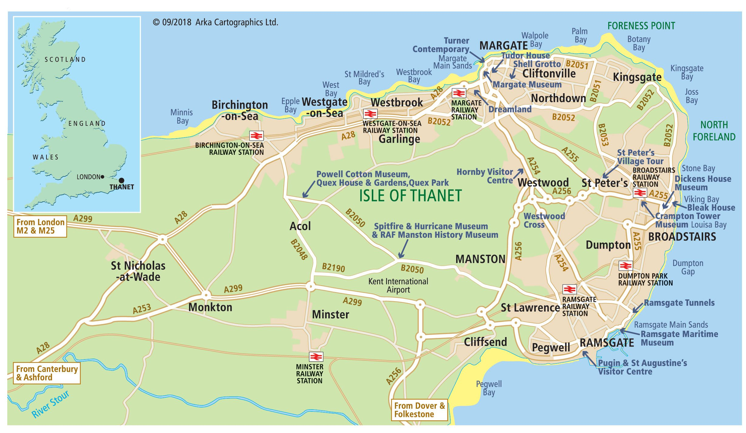 Map Of England Kent.Maps Of Margate Broadstairs And Ramsgate Visit Thanet