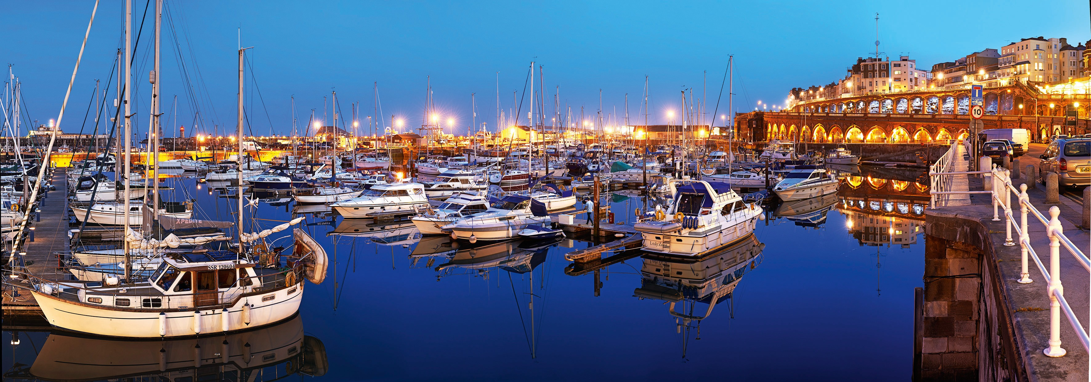 Ramsgate Harbour at night. Visit Kent/Thanet Tourism