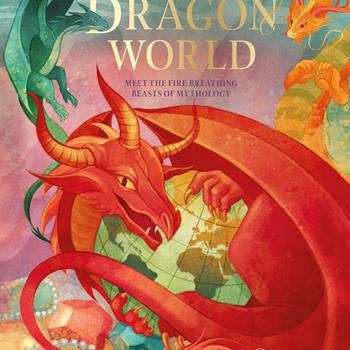 Illustration of dragon holding the world